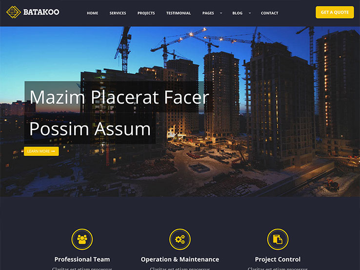 Batakoo Modern Construction Theme