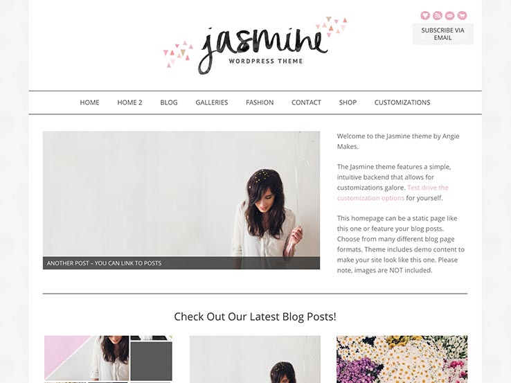 Jasmine Modern Feminine WordPress Template