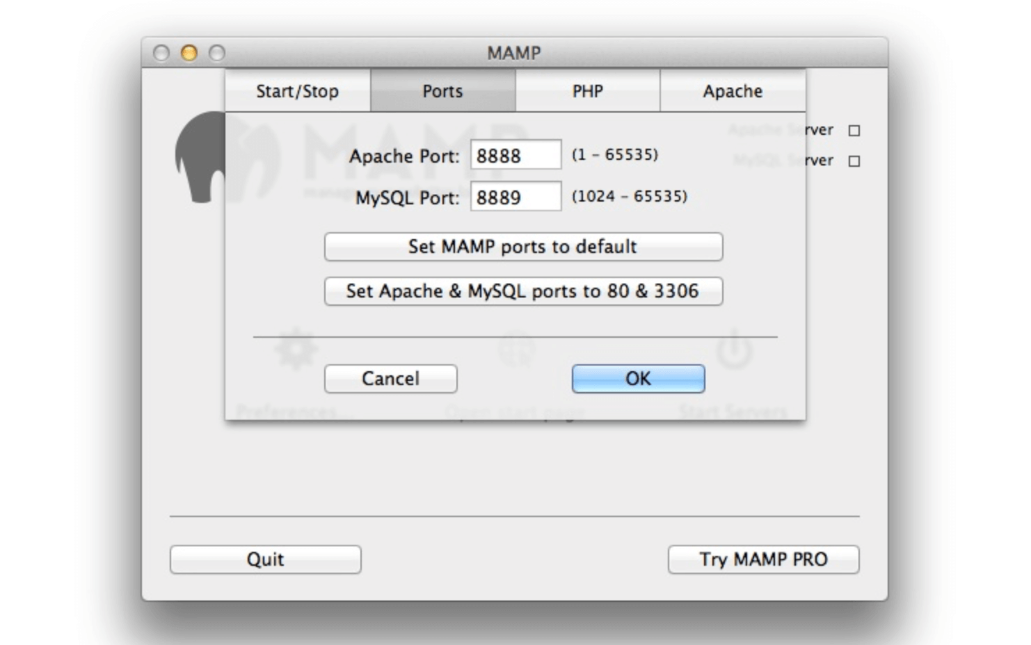 MAMP's default port settings.